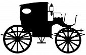 stock photo of edwardian  - A typical Victorian or Georgian style carriage in silhouette - JPG