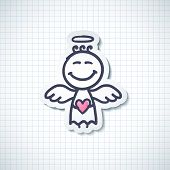 stock photo of little angel  - hand drawn angel with heart - JPG
