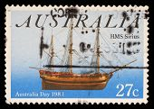 AUSTRALIA - CIRCA 1983: A stamp from Australia shows image of the ship HMS Sirius and commemorates A