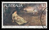 AUSTRALIA - CIRCA 1981: A Stamp printed in Australia shows the On the Wallaby Track (1896), by Fred