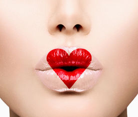 picture of lip  - Valentine Heart Kiss on the Lips - JPG
