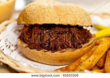 BBQ Pulled Pork Sandwich with Cole Slaw and Pickles