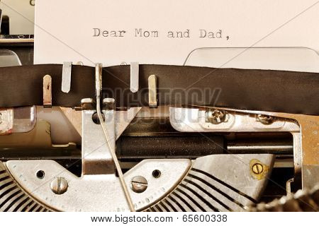Text Dear Mom And Dad Typed On Old Typewriter