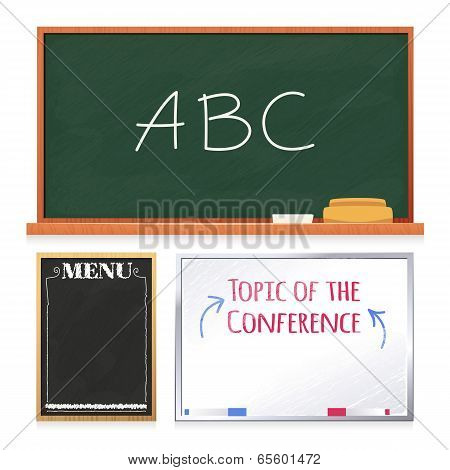 Chalkboards Set Isolated on White Background