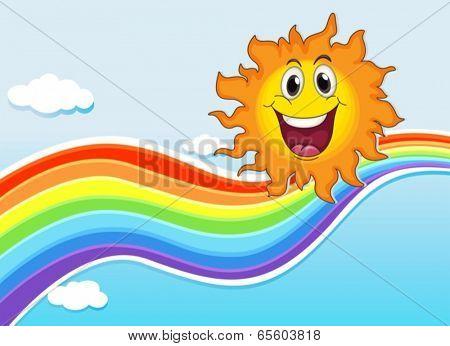 Illustration of a smiling sun near the rainbow