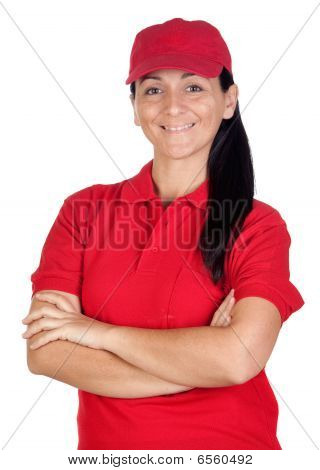 Brunette Dealer With Red Uniform