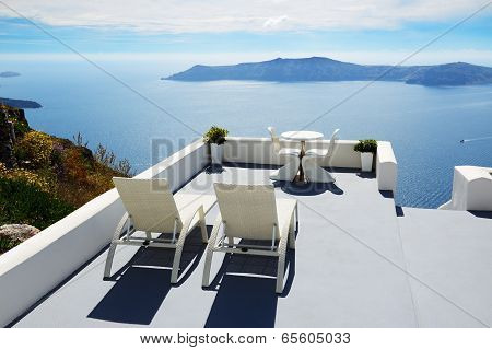The Sea View Terrace At Luxury Hotel, Santorini Island, Greece poster