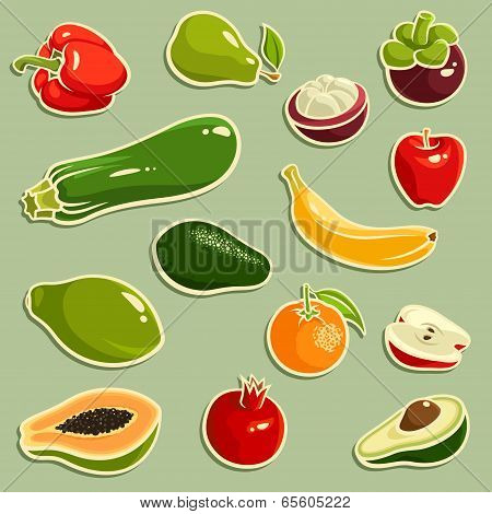 Fruits And Vegetables Vector Set