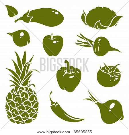Fruits Vegetables Silhouettes