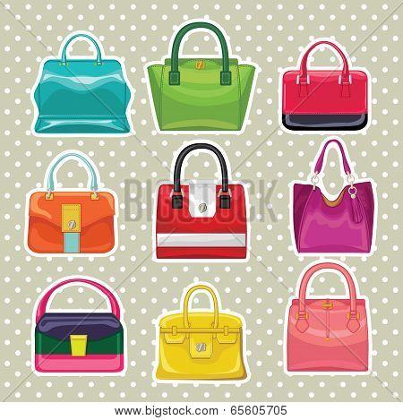 Multi-coloured Fashion Women's Handbag.polka Dot Background
