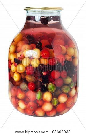 Jar of multifruit compote