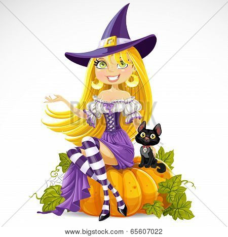 Cute young witch sits on a pumpkin