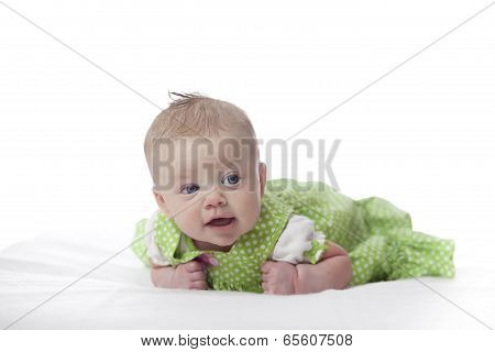 Baby Girl In Green Dress
