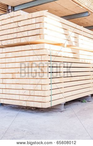 Wooden Panels Stored Inside A Warehouse