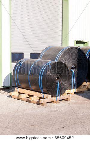 Rolls Of Black Industrial Plastic