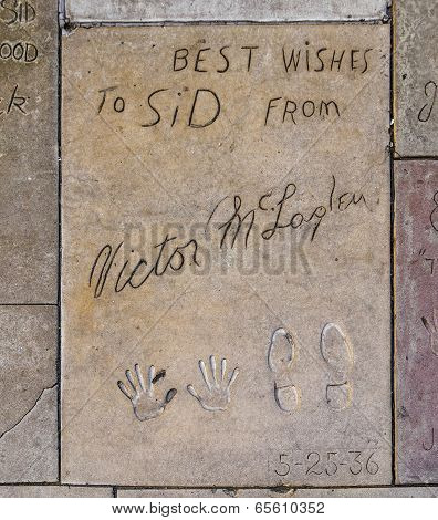 Handprints  Of Victor Mclaglen In Hollywood Boulevard In The Concrete Of Chinese Theatre's Forecourt