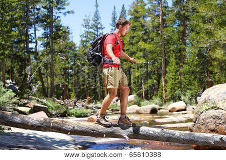 Hiker man hiking crossing river walking in balance on fallen tree trunk in Yosemite landscape nature forest. Happy male hiker trekking outdoors in Yosemite National Park., California, United States.