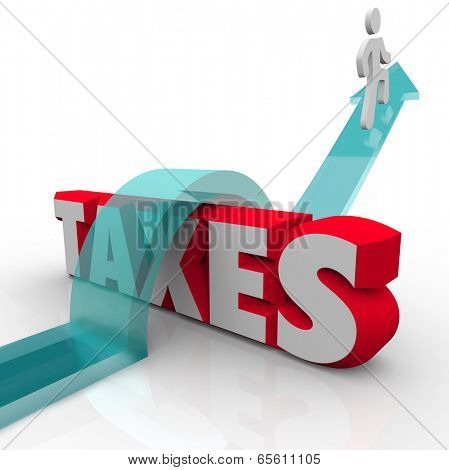 Taxes word 3d letters man arrow jumping over avoid paying money owed government
