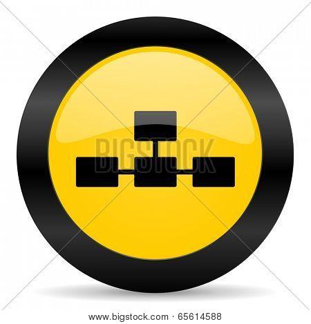 database black yellow web icon