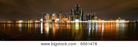 Night Panorama of Detroit Skyline from Windsor, Ontario
