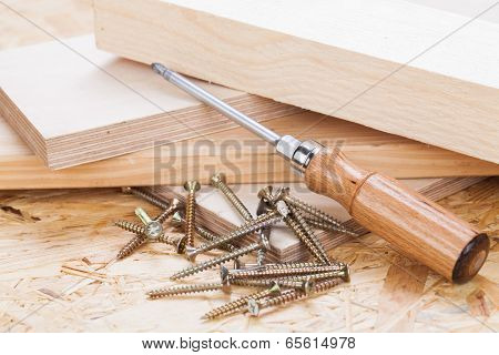 Phillips Head Screwdriver And Wood Screws