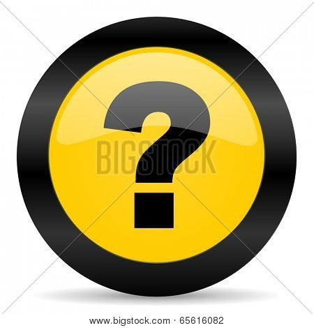 question mark black yellow web icon