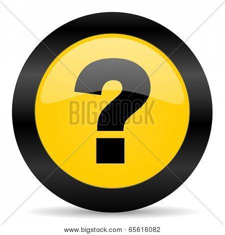 question mark black yellow web icon