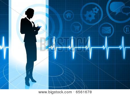 Businesswoman Working With Cellphone On Internet Pulse Icon Background