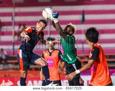 Sisaket Thailand-may 24: Mfeyet Njoya Souleymane Of Sisaket Utd. (green) In Action During Regional L
