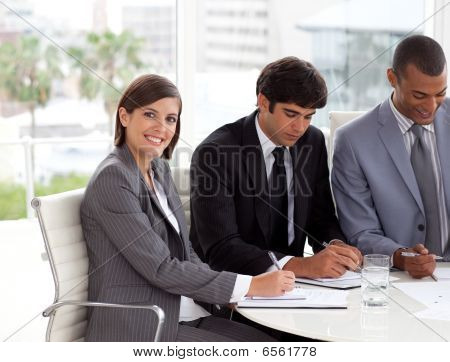 Attractive Businesswoman In A Meeting