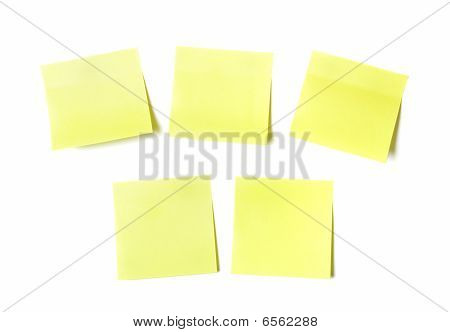 Yellow Sticky Papers On White Background