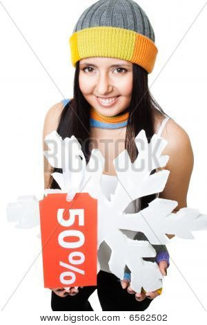 Woman Hold Snowflake With Sale Tag