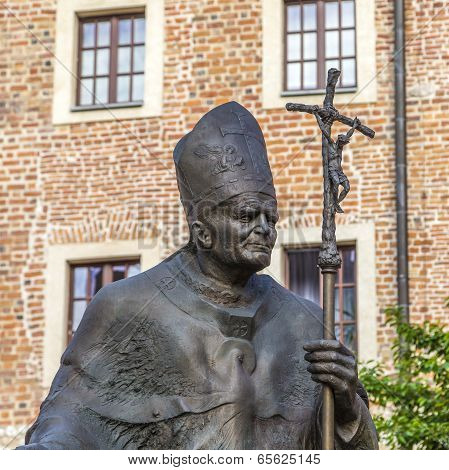 Krakow, Poland - Jul 27, 2013: Statue Of Pope John Paul Ii ( Blessed John Paul Or John Paul The Grea