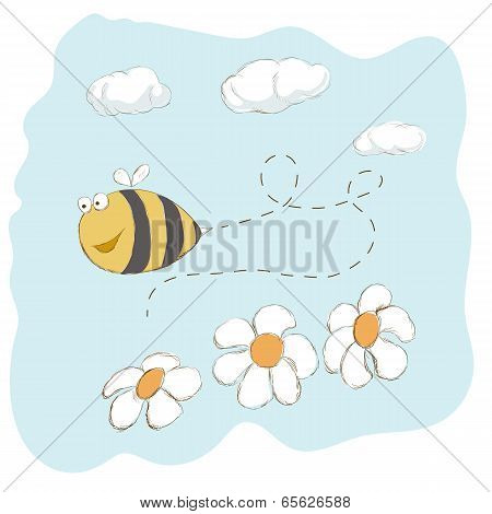 Cute Bee Flying Around Flowers