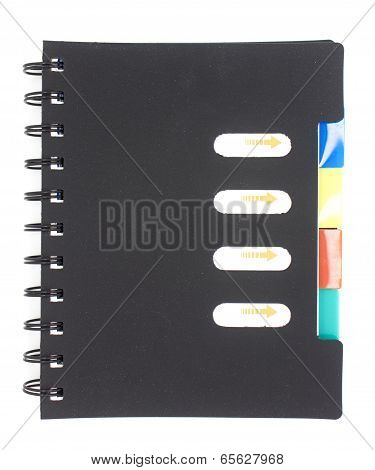 Black notebook isolated