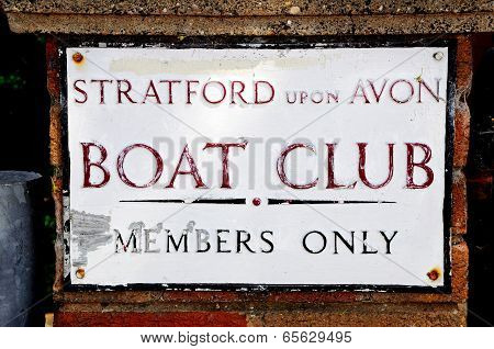 Boat club sign, Stratford-upon-Avon.