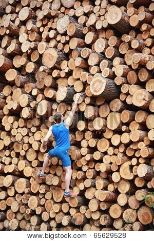 Young man climbing the large pile of cut wooden logs - back view