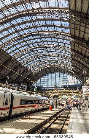 People Hurry To Train At Frankfurt Railway Station