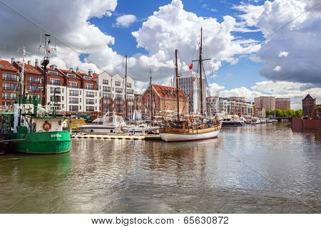 GDANSK, POLAND - 10 MAY: Harbor at Motlawa river in old town of Gdansk on 10 May 2014. Gdansk is a Polish city on the Baltic coast, one of the main seaport and center of Tri City area.