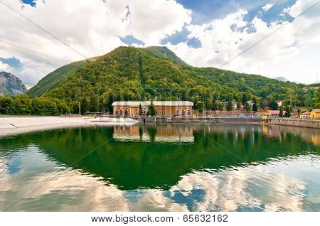 landscape with hydro-electric power plant and lake in Ligonchio, Emilia Apennines, Italy