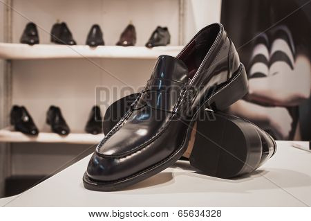 Elegant Men Shoes On Display At Si' Sposaitalia In Milan, Italy