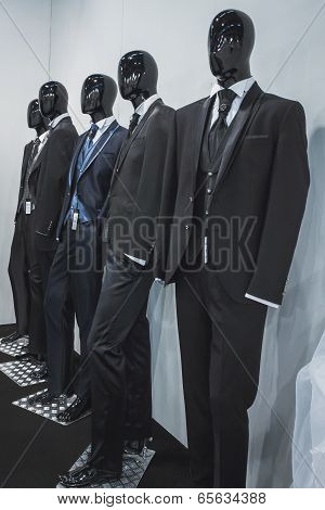 Menswear On Display At Si' Sposaitalia In Milan, Italy