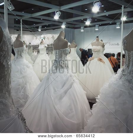 Wedding Dresses On Display At Si' Sposaitalia In Milan, Italy