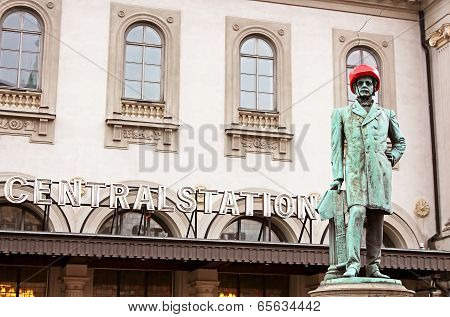 Satue Of Nils Ericson In Front Of Central Station In Stockholm