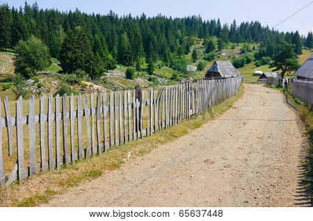 wooden fence in Kamena Gora, Serbia