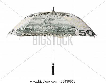 Business Concept: Umbrella With A Fifty Dollar Bill -recto