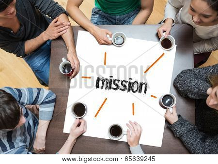 The word mission on page with people sitting around table drinking coffee