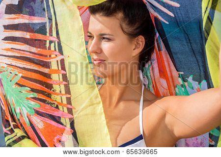 Beautiful Vivacious Woman At The Seaside