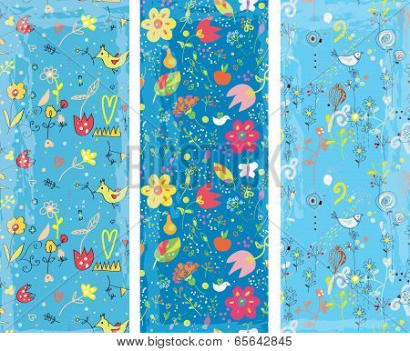 Floral vertical banners set