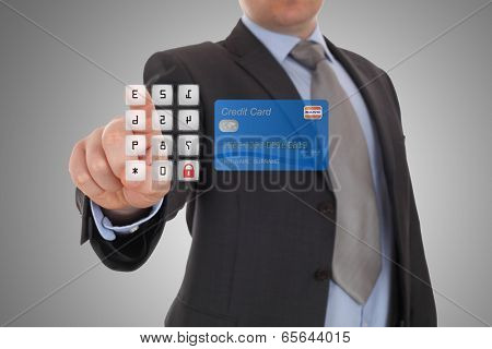 hand click security code on online banking on touch screen